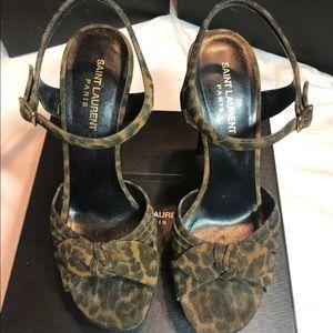 Saint Laurent Leopard platform sandals 39
